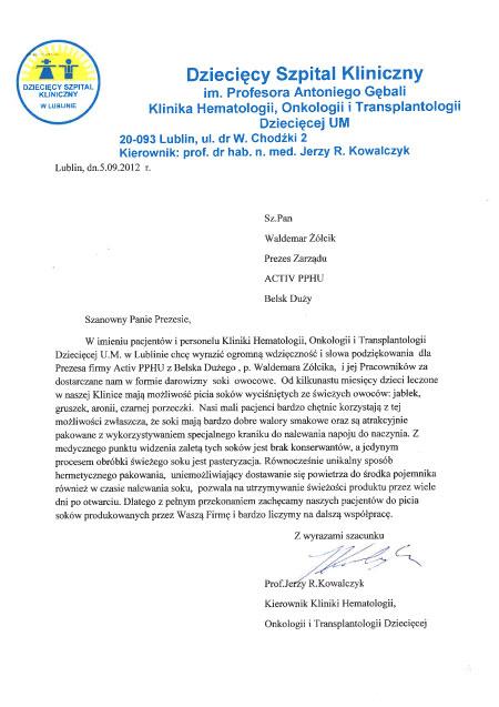 podziękowania ze szpitala dziecięcego w Lublinie